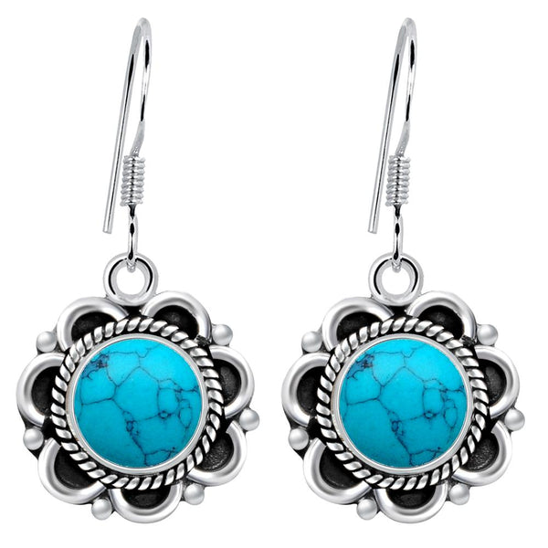Orchid Jewelry 5.00 Carat Turquoise 925 Sterling Silver Birthstone Earrings
