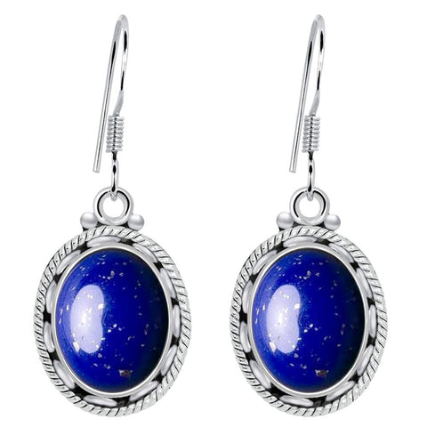 Orchid Jewelry 925 Sterling Silver 8 Carat Lapis Lazuli Womens Earrings