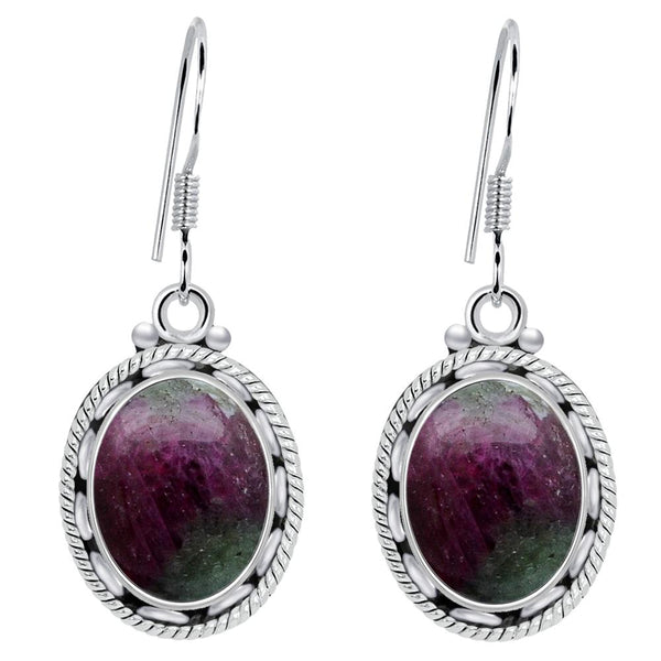 Orchid Jewelry 925 Sterling Silver 8.20 Carat Ruby Zosite Earrings for Women's