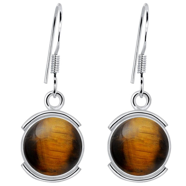 Orchid Jewelry 8.20 Carat Tiger's Eye 925 Sterling Silver Semi Bezel Earrings