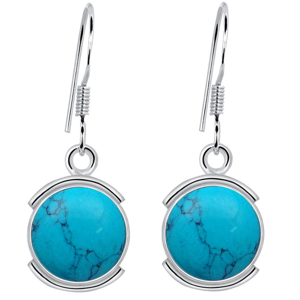 Orchid Jewelry 8.20 Carat Turquoise 925 Sterling Silver Birthstone Earrings