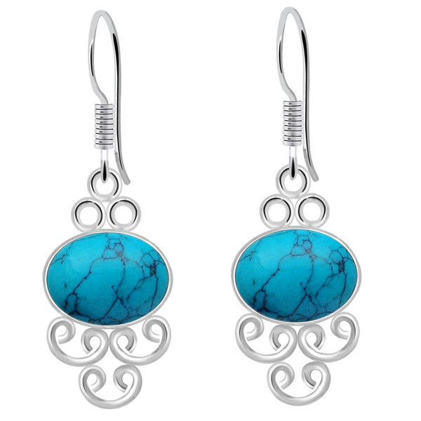 Orchid Jewelry 925 Sterling Silver 8.10 Carat Turquoise Hook Earrings