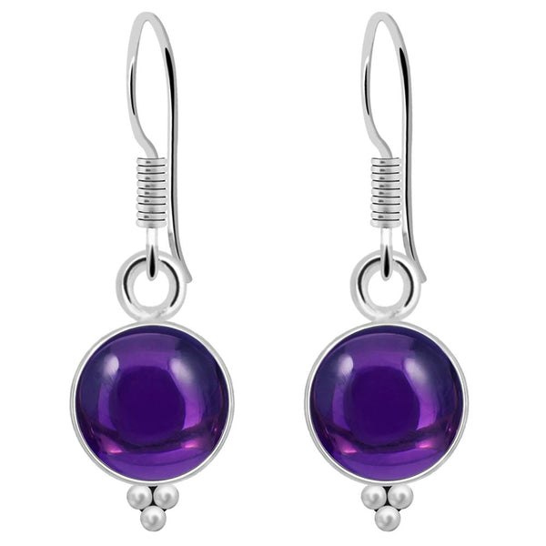 Orchid Jewelry 925 Sterling Silver 3.10 Carat Amethyst Birthstone Earrings