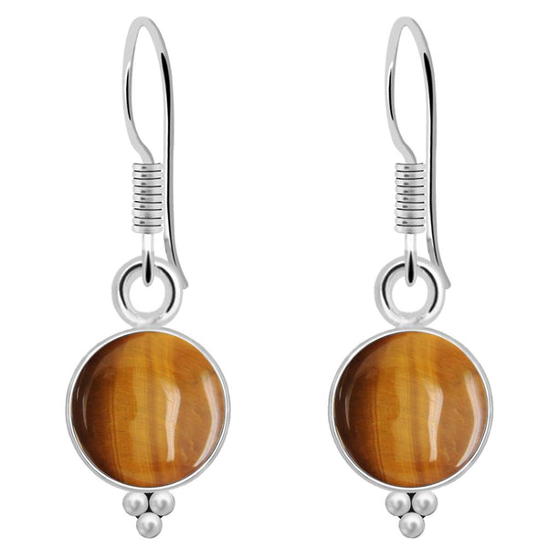 Orchid Jewelry 4.20 Carat Tiger's Eye 925 Sterling Silver Earrings
