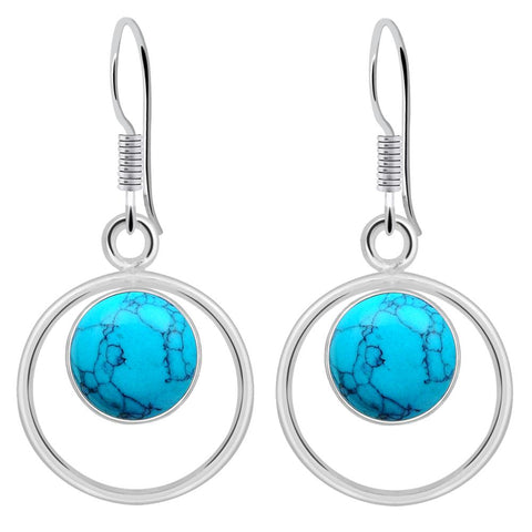 Orchid Jewelry 3.90 Carat Turquoise 925 Sterling Silver Dangle Earrings for Womens