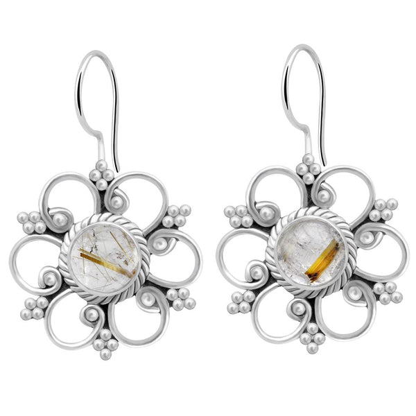 Orchid Jewelry 2.20 Carat Rutiliated Quartz 925 Sterling Silver Flower Dangle Earrings