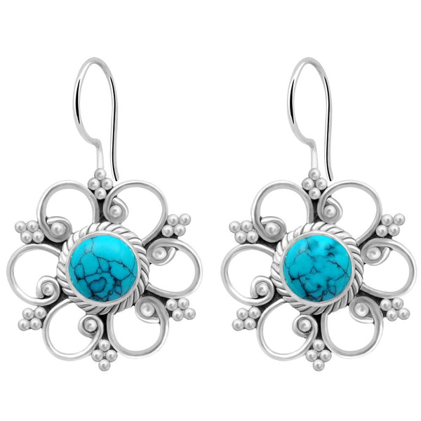 Orchid Jewelry 925 Sterling Silver 1.90 Carat Turquoise Flower Dangle Earrings