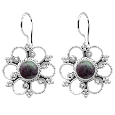 Orchid Jewelry 925 Sterling Silver 2.20 Carat Ruby Zosite Earrings