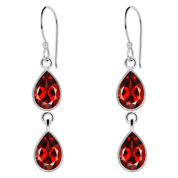 Orchid Jewelry 5.82 Carat Garnet 925 Sterling Silver 2-Tier Drop Earrings for Womens