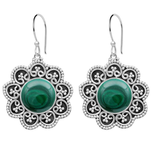 Orchid Jewelry 11.00 Carat Malachite 925 Sterling Silver Oxidized Earrings