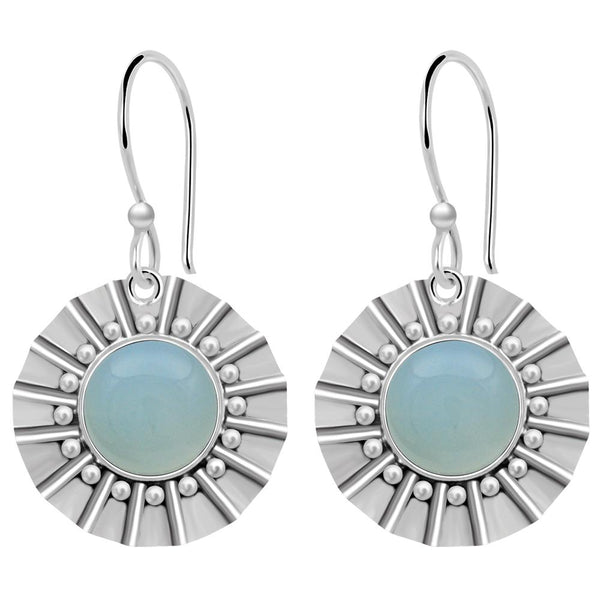 Orchid Jewelry 7.50 Carat Aquamarine Chalcedony 925 Sterling Silver Dangle Earrings