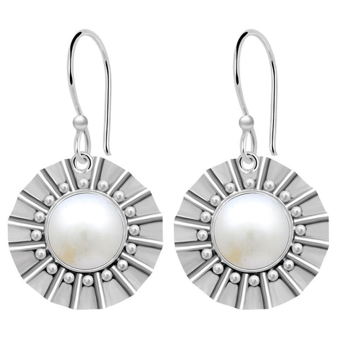 Orchid Jewelry 8.50 Carat Pearl Sterling Silver Dangle Earrings