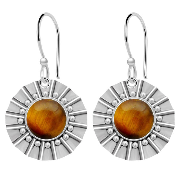 Orchid Jewelry 8.00 Carat Tiger Eye 925 Sterling Silver Dangle Earrings