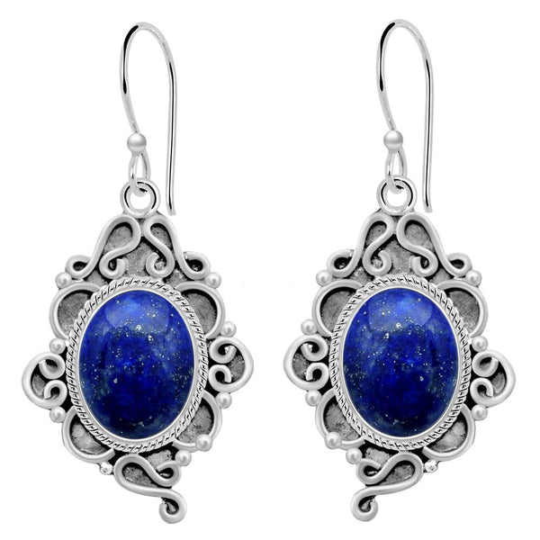 Orchid Jewelry 6.00 Carat Lapis Lazuli 925 Sterling Silver Dangle Earrings