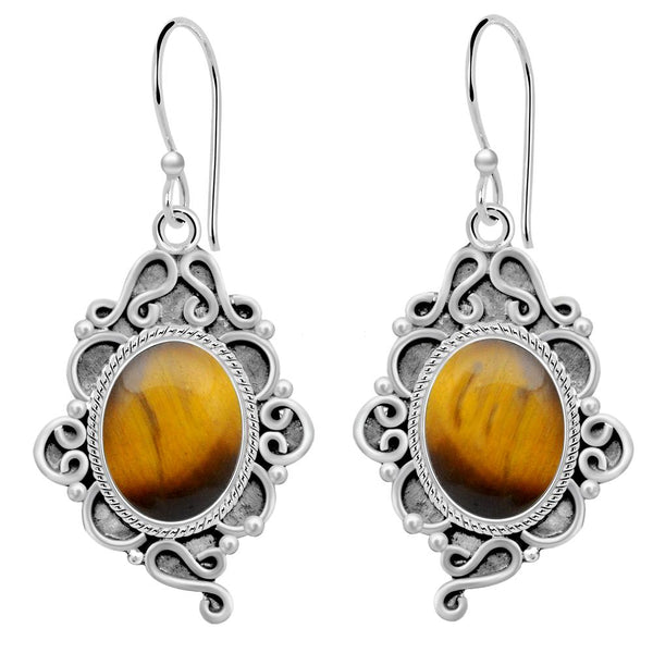 Orchid Jewelry 6.50 Carat Tiger's Eye 925 Sterling Silver Dangle Earrings