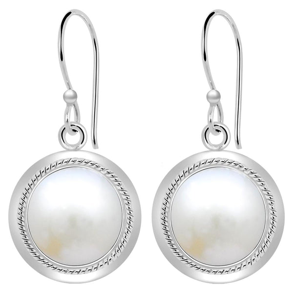Orchid Jewelry 8.50 Carat Pearl Solid Sterling Silver Dangle Earrings