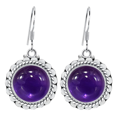 Orchid Jewelry 8.00 Carat Amethyst 925 Sterling Silver Gemstone Dangle Earrings