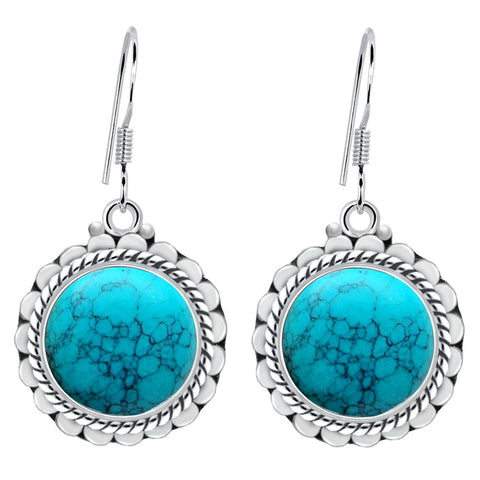 Orchid Jewelry 7.80 Carat Turquoise 925 Sterling Silver Dangle Earrings