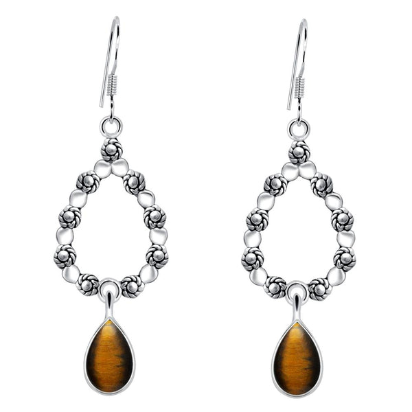 Orchid Jewelry 4.50 Carat Tiger's Eye 925 Sterling Silver Dangle Earrings