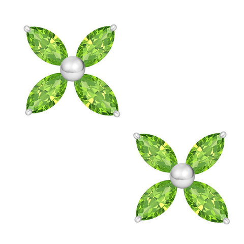 Orchid Jewelry 925 Sterling Silver Marquise Cut Green Peridot Stud Earrings