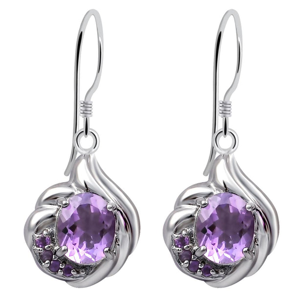 Orchid Jewelry 6.46 Ctw Oval Purple Amethyst Drop/Dangle Earrings in 925 Sterling Silver