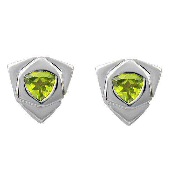 Orchid Jewelry 1.50 Carat Peridot Trillion Cut Stud Earrings in Sterling Silver Rhodium Plated