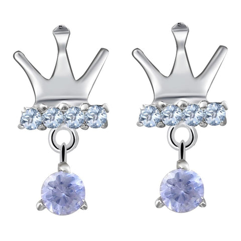 Orchid Jewelry 0.90 Ctw Tanzanite & Blue Topaz Crown Statement Earrings in 925 Sterling Silver