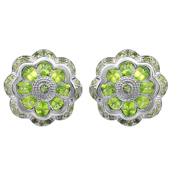 Orchid Jewelry 925 Sterling Silver Natural Peridot Flower Trendy Stud Earrings For Women