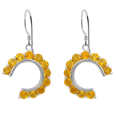 Orchid Jewelry 925 Sterling Silver 1.76 Ctw Citrine Gemstone Half Round Circle Dangle Earrings