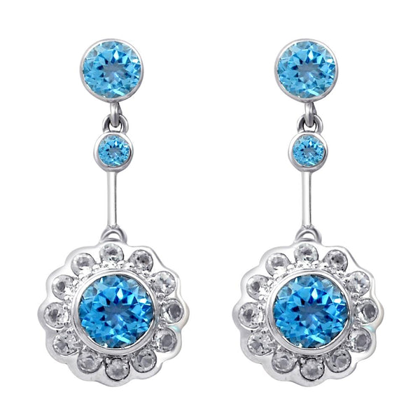 Orchid Jewelry 925 Sterling Silver Blue Topaz & White Topaz Bridal Stud Dangle Earrings