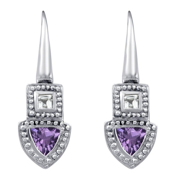 Orchid Jewelry 925 Sterling Silver Trillion Shape Earring With Amethyst & White Topaz, Garnet & Citrine