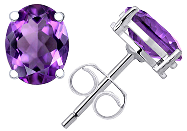 0.9 Cts Purple Amethyst Sterling Silver Stud Earrings For Women