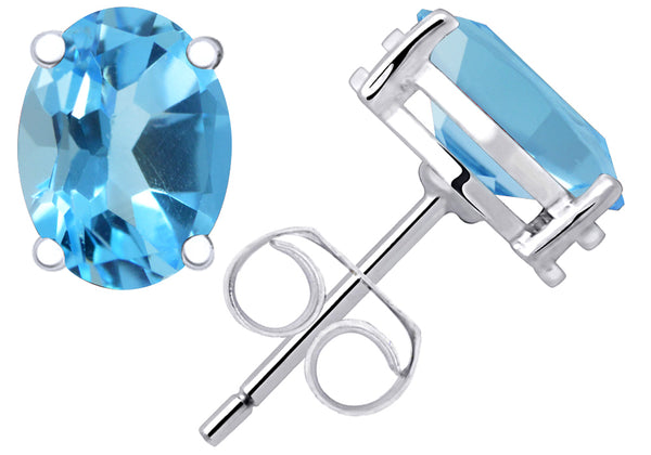 1.1 Cts Blue Topaz Women's Sterling Silver Stud Earrings