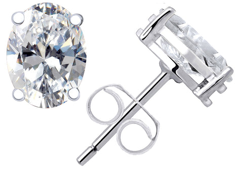 Sterling Silver Stud Earrings for Women 1.55 Cts Cubic Zirconia Gemstone