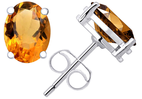925 Sterling Silver 0.80 Cts Citrine Stud Earrings For Girls & Women's