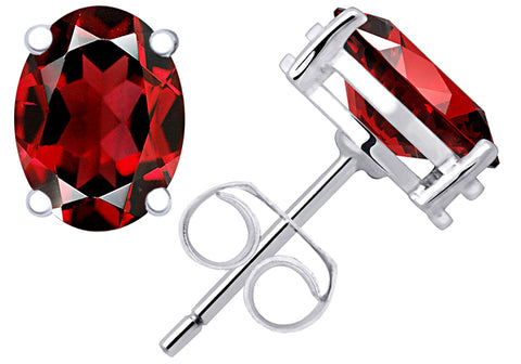 1.10 Cts Red Garnet Sterling Silver Stud Earrings