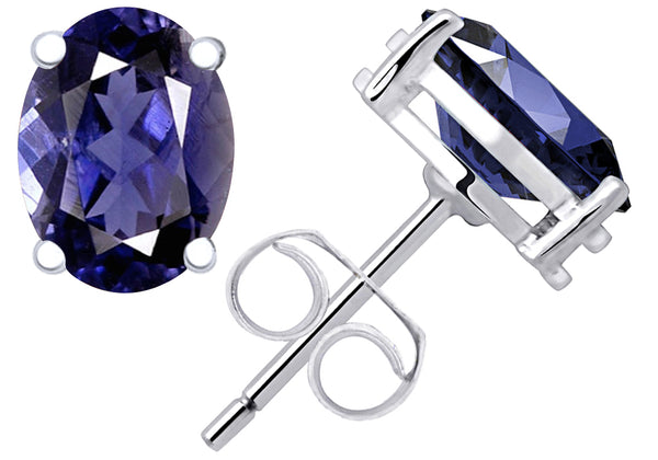 0.65 Cts Iolite 925 Sterling Silver Stud Earrings