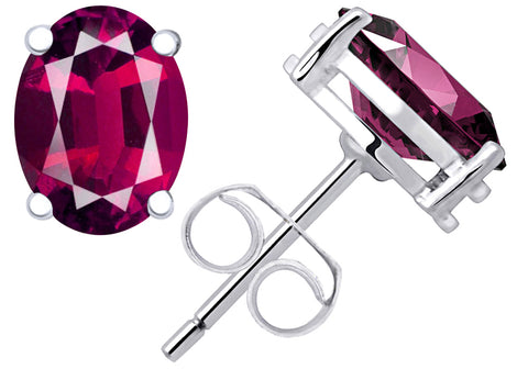 1.55 Ct Ruby Sterling Silver Stud Earrings For Women