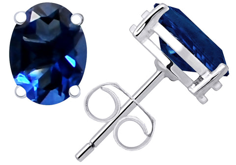 Sterling Silver Stud Earrings For Women 1.3 Cts Sapphire Oval Gemstone