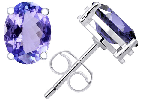 Sterling Silver 0.85 Cts Tanzanite Stud Earrings
