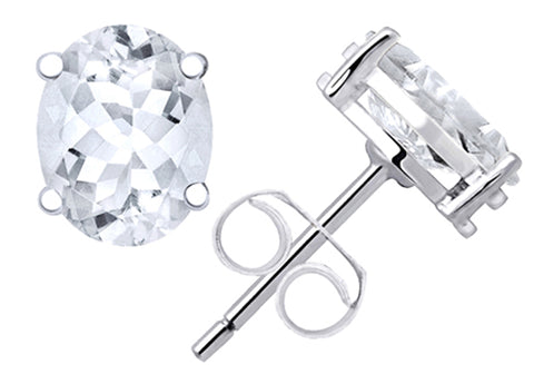 1.1 Cts White Topaz Sterling Silver Stud Earrings