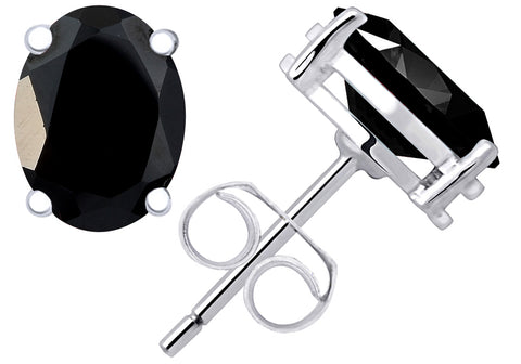 2.2 Cts Black Spinel Sterling Silver Stud Earrings