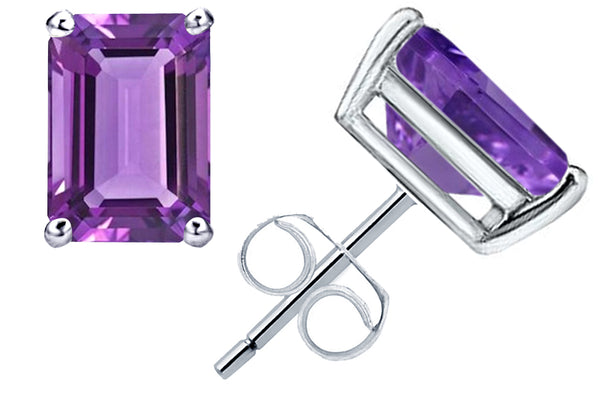 1.0 Cts Purple Amethyst Sterling Silver Stud Earrings For Women's