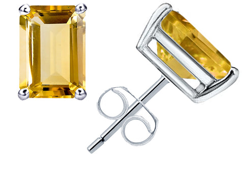 1.1 Cts Citrine Sterling Silver Stud Beautiful Earrings