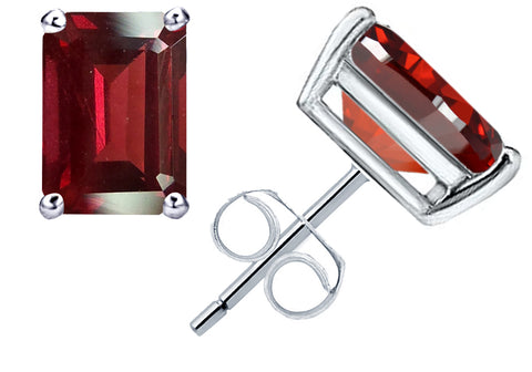 Affordable Sterling Silver Stud Earrings For Women 1.4 Cts Red Garnet Gemstone