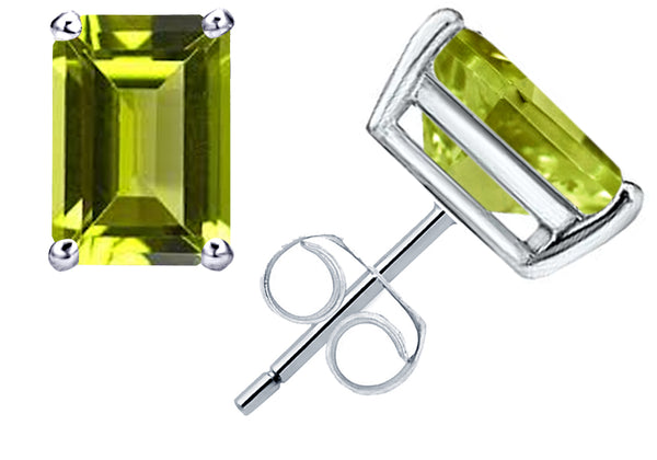 1.10 Cts Green Peridot Sterling Silver Stud Earrings