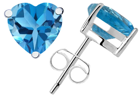Sterling Silver Stud Earrings 0.6 Ct Swiss Blue Topaz Gemstone For Girls