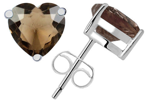 Beautiful Streling Silver Stud Earrings For Girls 0.4 Cts Smoky Quartz