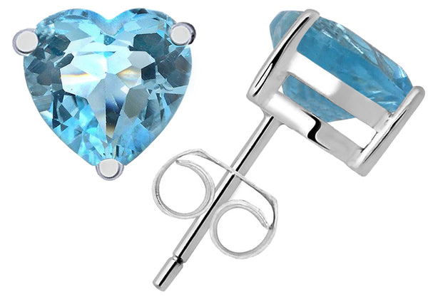 Sterling Silver Stud Earrings 2.0 Cts Blue Topaz Gemstone