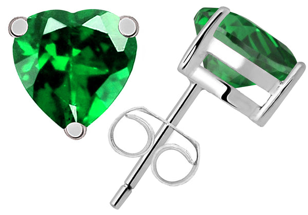 Sterling Silver Stud Earring 1.19 Ct Created Emerald Gemstone